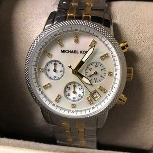 MK Silver Mother of Pearl Chronograph Watch